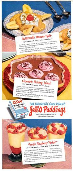 Jell-O puddings advertisement for Fabulously Good Desserts circa 1948