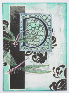"""Original alphabet themed artist card, entitled """"Alphabet Series D"""". This collaged card was made with gesso, hand tinted illustration, inks, glitter glue and rubber stamps on a cardstock/scrapbook paper base. Titled, stamped and dated on the back by the artist (hey, that's me!).  Card measures 3..."""