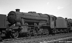 48773. These locos were the heavy freight haulers of the LMS - Stanier's 8F 2-8-0's.  Introduced from 1935 they were amongst the last steam engines withdrawn at the very end of steam in August 1968.  A total of 666 were in traffic in the 1950's.   With most of its motion missing, this is 48173.