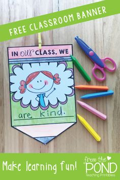 Free classroom banner for students to draw and display in the classroom. Perfect for back to school - a fun, easy to prep activity for the first day of school. Preschool First Day, Beginning Of Kindergarten, First Day Of School Activities, 1st Day Of School, Beginning Of The School Year, School Week, Kindergarten Prep, School Fun, High School