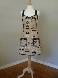 Mustache Apron  Tom Selleck by HauteMessThreads on Etsy,