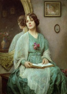 Reflections by Ethel Porter Bailey (fl.1908-27)  Art, posters and prints of a woman or women reading repinned by www.AboutHarry.com