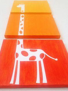 Giraffe Ombre Canvas Art (Choose your colors!) www.ADapperDuck.com