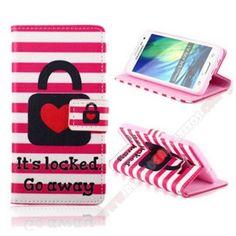 Funda tapa piel cartera diseño candado del amor para móvil Galaxy A3