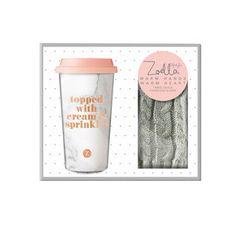 Zoella Travel Mug & Gloves Set - Warm Hands, Warm Heart