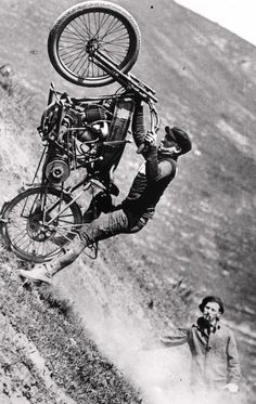 We used to go to Apple Blossom Festival in Wenatchee and there was a motorcycle hill climb there, just like the one in this pic. Watched alot of guys trash their bikes to earn King of the hill. Cool pic Don! Harley hill climb ( no helmet or protection whatever , just Balls )