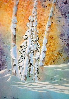 Birch Blanket by Dee Tunseth Waterc. Watercolor Trees, Watercolor Landscape, Landscape Paintings, Watercolor Paintings, Watercolours, Landscapes, Winter Scenes, Snow Scenes, Tree Art