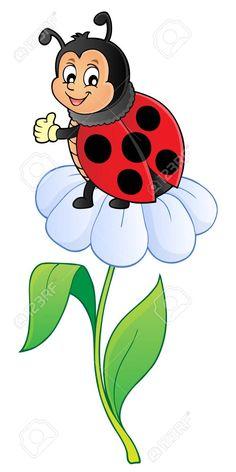 Happy ladybug on flower image vector illustration. - 97925497 Art Drawings For Kids, Disney Drawings, Drawing For Kids, Cartoon Drawings, Easy Drawings, Ladybug Art, Ladybug Crafts, Ladybug Coloring Page, Cartoon Caracters