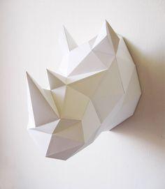 Rhino neushoorn origami folding kit D.Y assembli at Indie-ish. Mode Origami, Origami Owl, Origami Paper, Diy Paper, Paper Crafting, Origami Rhino, Kirigami, Art Mural 3d, 3d Wall Art