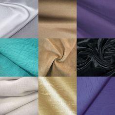 fabric  1 ряд – шелк; кашемир; чаллис. 2 ряд – креп; замша; бархат. 3 ряд – лен; шелк-сырец; шантунг.