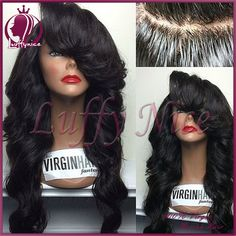 Find More Wigs Information about Long pineapple wave human hair wig full lace wig & glueless virgin lace front wigs with Big bangs baby hair perruque bresilienne,High Quality wig closure,China wig wave Suppliers, Cheap wig cap from luffy nice hair store on Aliexpress.com