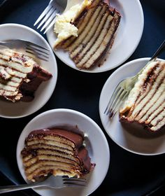 Smith Island Cake: eight buttery cake layers interlaid with chocolate fudge icing.