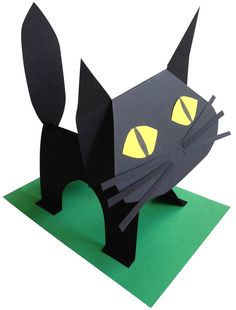 How to make a cat out of one sheet of black paper. Great for 1st through 5th graders. Free PDF tutorial at my site. #artprojectsforkids #blackcat #halloween