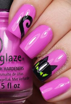 halloween-nail-art - 50 Cool Halloween Nail Art Ideas Tap the link now to find the hottest products for Better Beauty! nail art designs 2019 elegant nail designs for short nails nail art stickers online nail art stickers walmart best nail wraps 2019 Fancy Nails, Love Nails, Pretty Nails, Cat Nail Art, Cat Nails, Coffin Nails, Halloween Nail Designs, Halloween Nail Art, Halloween Halloween