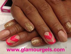 "Love the subtle color ""Nearly Nude"" paired with a vibrant color ""Pink Flamingo"" and ""Champaign"" glitter. www.glamourgels.com"