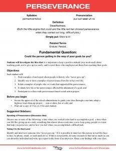 School Datebooks | Character Education Lesson Plans| Perseverance