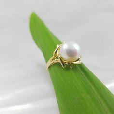 18k geelgouden ring met echte parel