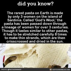Kitchenese: Cooking School — did-you-kno: The rarest pasta on Earth is made...