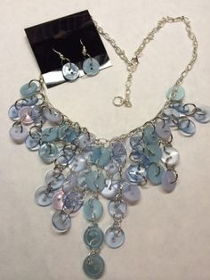 Ice Bue Button and Bead Necklace by BornAgainButtons on Etsy, $25.00