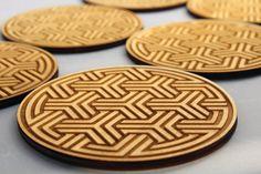 Engraved wooden coasters set  of 6 (Arabesque C). €16.00, via Etsy.