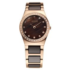 Bering Time - Ladies Rose Gold & Brown Ceramic Watch with Swarovski... (395 AUD) ❤ liked on Polyvore featuring jewelry, watches, ceramic bezel watches, rose gold jewelry, ceramic watches, rose gold wrist watch and brown jewelry