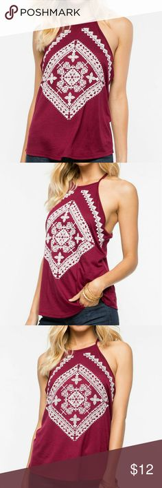 """👄NEW! Layla Halter Top👄 New with Tags 🌺A super cute slinky tank with puffy tribal style pattern on the front and sexy racerback. Unlined. Color: Wine/Burgundy 🍁Measures approx. 22"""" length, 30-36""""chest, 30-34""""waist 🍁100% Rayon 🍁Made in USA 🍁Hand wash cold 🍁Model is wearing sizeS 🍁Model is 5'9"""", 32 bust, 23""""waist, 34.5 hips ✔All Reasonable Offers Accepted  ✔Bundle Discounts!💲💲💲 ❌NO Lowballing Thank you for stopping by!  Make an offer! 👍 a'gaci Tops Tank Tops"""