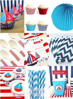 Yacht Club: Red, White, Blue Nautical Inspired Party Ideas by Bird's Party 1st Birthday Themes, Boy Birthday Parties, Bird Party, Nautical Party, Craft Party, First Birthdays, Party Time, Ideas Party, Fundraiser Themes