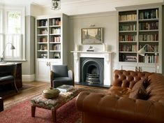 Fireplace mantels and bookcases home office traditional with leather handles chesterfield sofa gray walls
