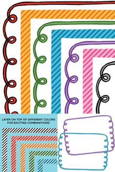 Clip Art: Curls and Stripes Border Set For Personal and Commercial Use School Classroom, Classroom Decor, Hand Drawn Border, Cute Clipart, Borders And Frames, Too Cool For School, Memory Books, Classroom Organization, Creations