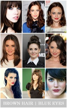 Hair, makeup, and clothing inspiration for girls with brown hair and blue eyes!
