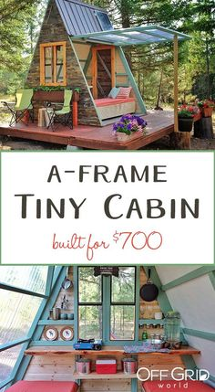 Beautiful A-frame tiny cabin in Montana, using mostly reclaimed materials. Even better, it's solar powered! Beautiful A-frame tiny cabin in Montana, using mostly reclaimed materials. Even better, it's solar powered! Tiny Cabins, Tiny House Cabin, Tiny House Living, Tiny House Design, Tiny Cabin Plans, Tiny Guest House, A Frame House Plans, A Frame Cabin, Tree House Plans