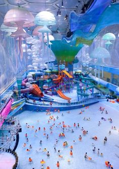The World's Coolest Indoor Water Parks Officially known as the Beijing Water Cube Water Park, Happy Magic is part of the National Aquatics Center and is now Beijing's most visited tourist spot after the Great Wall. Thanks to a major renovation in the Vacation Places, Dream Vacations, Vacation Spots, Vacation Travel, Texas Travel, Asia Travel, Family Travel, Midwest Vacations, Best Family Vacations