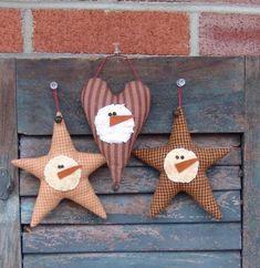 Homespun+Star+and+Heart+Snowman+Ornies+Pattern+by+CindysHomespun,+$5.50