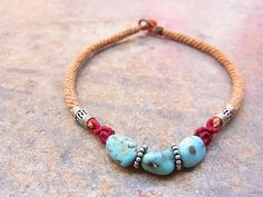 white water turquoise anklet