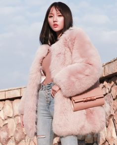 Fox fur jacket, crafted of soft and supple Arctic Marble Fox fur imported from Finland SAGA. Pink Fur Jacket, Pink Faux Fur Coat, Fox Fur Jacket, Fox Fur Coat, Fur Coats, Pink Fluffy Jacket, Fluffy Coat, Fur Coat Outfit, Mode Hijab