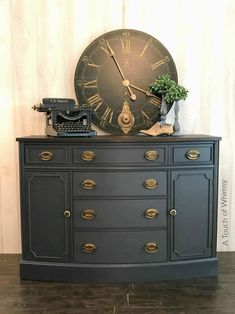SOLD Vintage Buffet Painted Dark Grey with Dark Stained