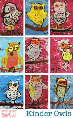 Owl Art Project This is my favorite new site! Art lessons for each grade level! Owls for kindergarten! Super cuteThis is my favorite new site! Art lessons for each grade level! Owls for kindergarten! Kindergarten Art Lessons, Art Lessons For Kids, Art Lessons Elementary, Kindergarten Pictures, Animal Art Projects, Winter Art Projects, School Art Projects, Deep Space Sparkle, Autumn Art