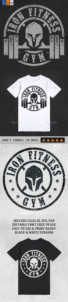 Double Iron Fitness Gym Illustration for T-Shirt #design Download: http://graphicriver.net/item/double-iron-fitness-gym/13342373?ref=ksioks