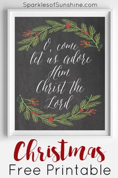 DIY Crafts : Decorate your home for Christmas this year with this O Come Let Us Adore Him Christmas free printable from Sparkles of Sunshine. via Sparkles Christmas Quotes, Christmas Signs, Christmas Projects, Winter Christmas, Christmas Home, Holiday Crafts, Holiday Fun, Christmas Decorations, Christmas Ornaments
