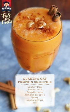 It only takes a couple of minutes to make the Quaker® Pumpkin Oat Smoothie! Try this quick, easy recipe that you can make before running out the door in the morning.