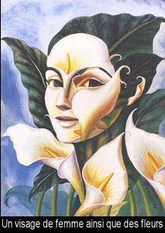 Visage femme avec des fleurs