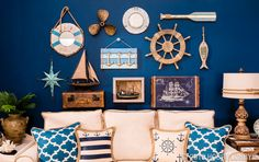 Bring the joy of the beach into your home with nautical-inspired decor that gives you that by-the-sea feel! What's Decoration? Nautical Bedroom, Nautical Wall Decor, Nautical Home, Coastal Decor, Nautical Style, Design Your Home, House Design, Living Room Decor, Bedroom Decor