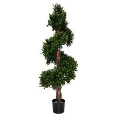 "Indoor/outdoor faux boxwood with an authentic wood stem.   Product: Faux botanical arrangementConstruction Material: Wood and fabricColor: Green and blackFeatures:  Durable and maintenance freeNatural appearanceFor indoor and outdoor use Dimensions: 55"" H x 20"" DiameterCleaning and Care: Wipe with damp cloth"