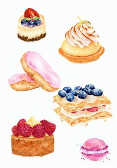French Pastries ORIGINAL Painting Still Life por ForestSpiritArt, £40.00
