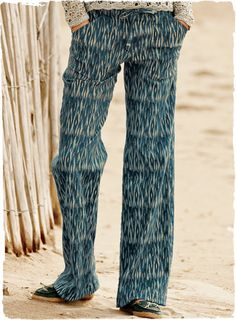 wide-leg, tie-belted trousers, with front zip and back flap pockets, in an ikat-patterned fabric of cotton aka PJ's you can wear outside!!!