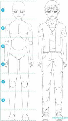 Como dibujar a un hombre anime (cuerpo y rostro) Paso a paso