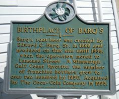 Historical Marker at Edward Barq's Pop Factory, Biloxi where Barq's Root Beer was first bottled...