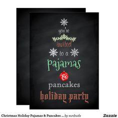 Christmas Holiday Pajamas & Pancakes Family Party Card
