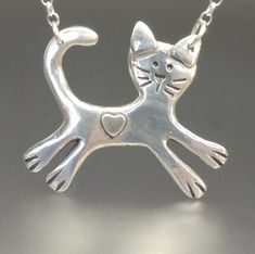 Cat Necklace Cat Jewelry Cat Lover Gift Silver Cat Cat and Dog Jewelry, Animal Jewelry, Heart Jewelry, Jewelry Design, Cat Lover Gifts, Cat Lovers, Garnet Bracelet, Silver Cat, Cat Necklace