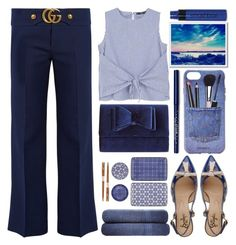 """Blue Landscape"" by grozdana-v ❤ liked on Polyvore featuring MANGO, INC International Concepts, Iphoria, West Elm, Tokyo Design Studio, F.Lli Bruglia, Downland, Gucci and Smashbox"